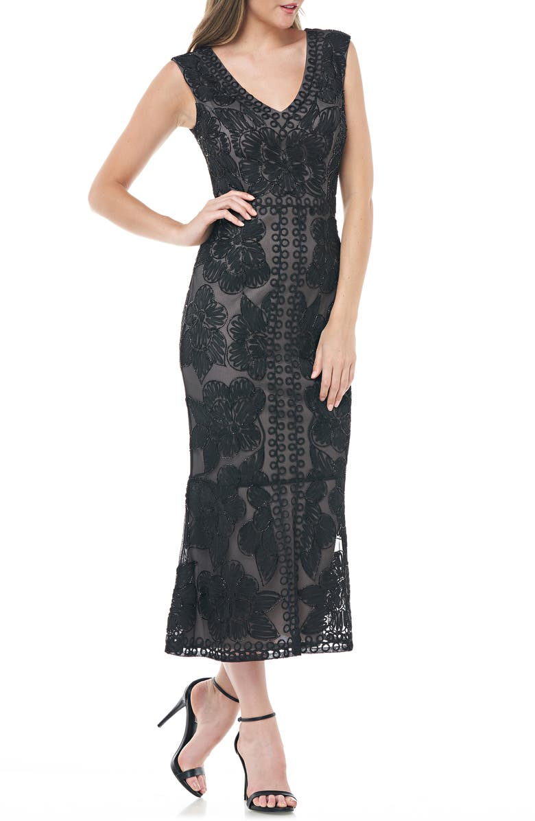 JS COLLECTIONS Beaded V-Neck Tea Length Dress, Main, color, BLACK NUDE