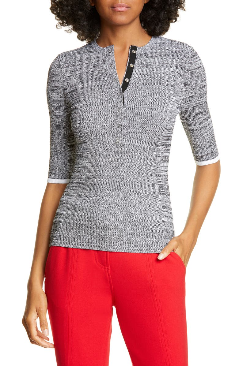 A.L.C. Norris Henley Sweater, Main, color, BLACK/ WHITE