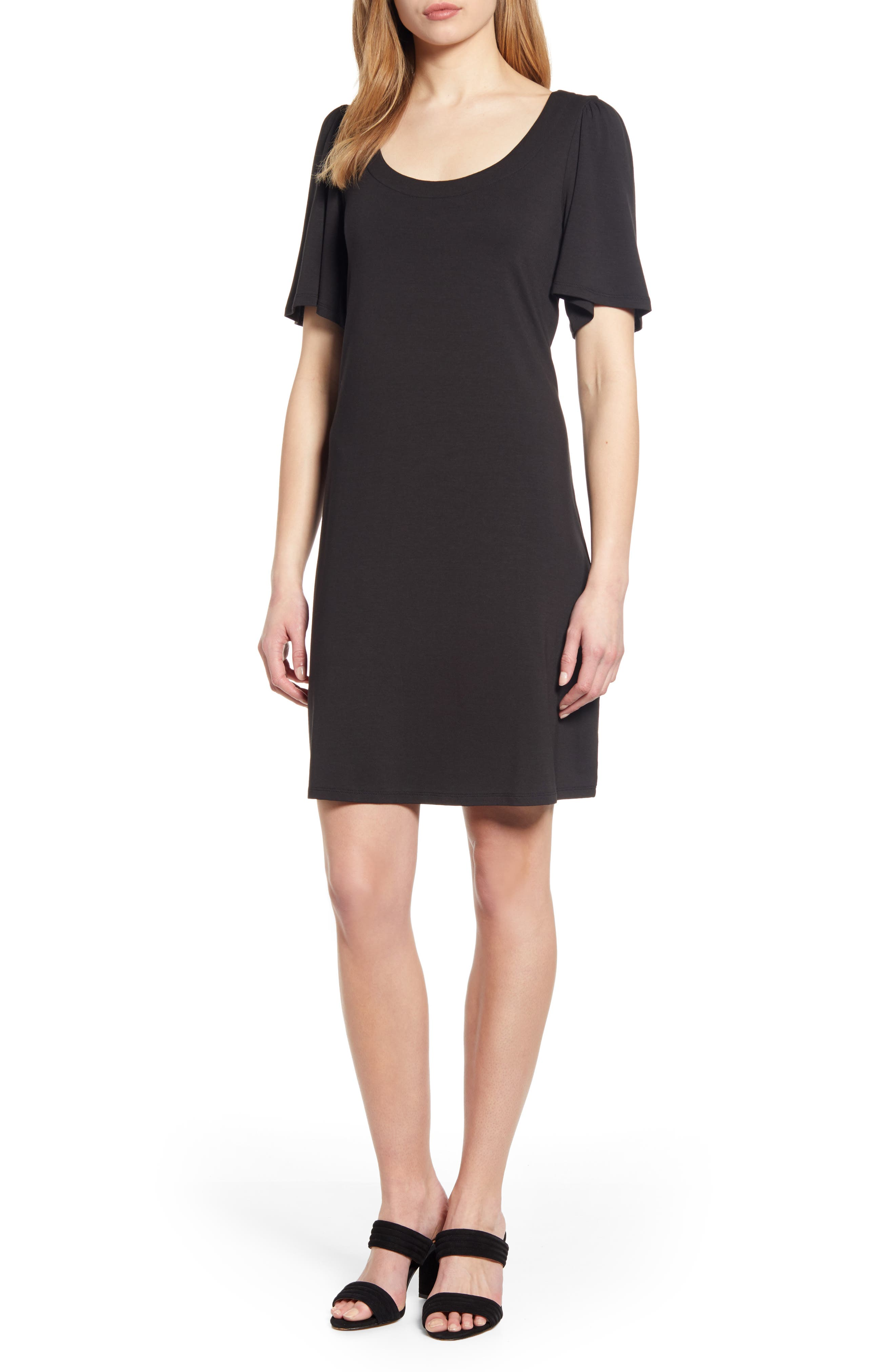 Tommy Bahama Tambour Short Sleeve Stretch Cotton Sheath Dress, Black