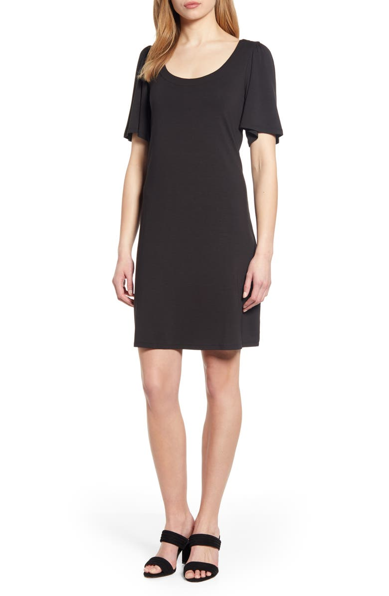 TOMMY BAHAMA Tambour Short Sleeve Stretch Cotton Sheath Dress, Main, color, BLACK