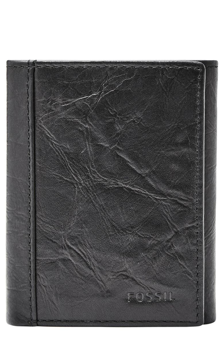 FOSSIL Neel Leather Wallet, Main, color, BLACK