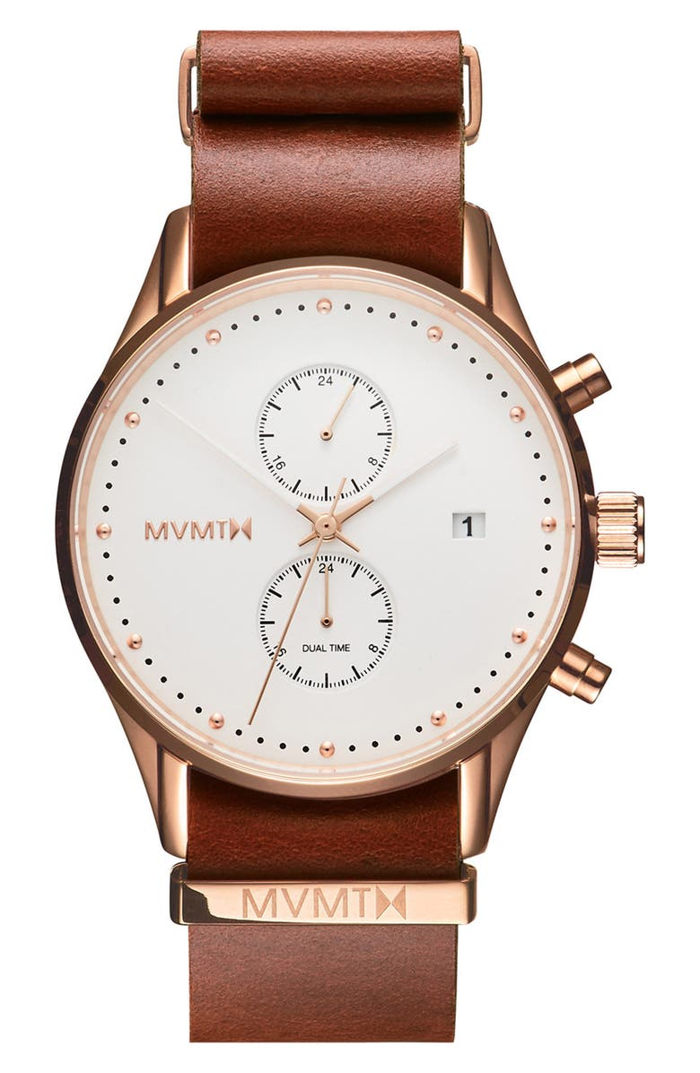 MVMT Voyager Chronograph Leather Strap Watch, 42mm, Main, color, 200