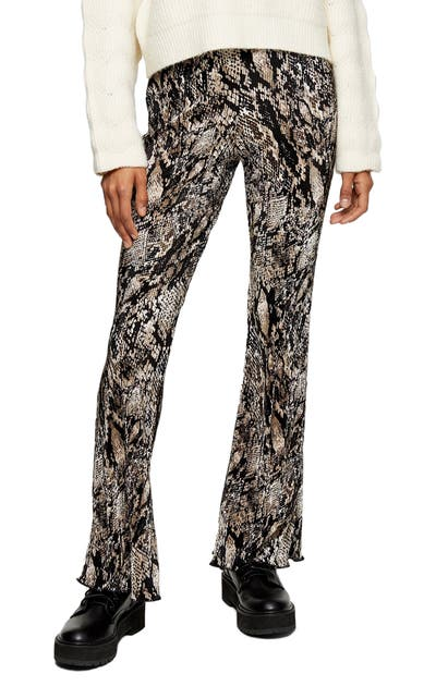 Topshop Snake Print Flare Trousers In Brown Multi