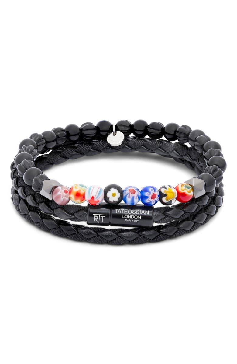 TATEOSSIAN 2-Piece Braided Bead Bracelet, Main, color, BLACK