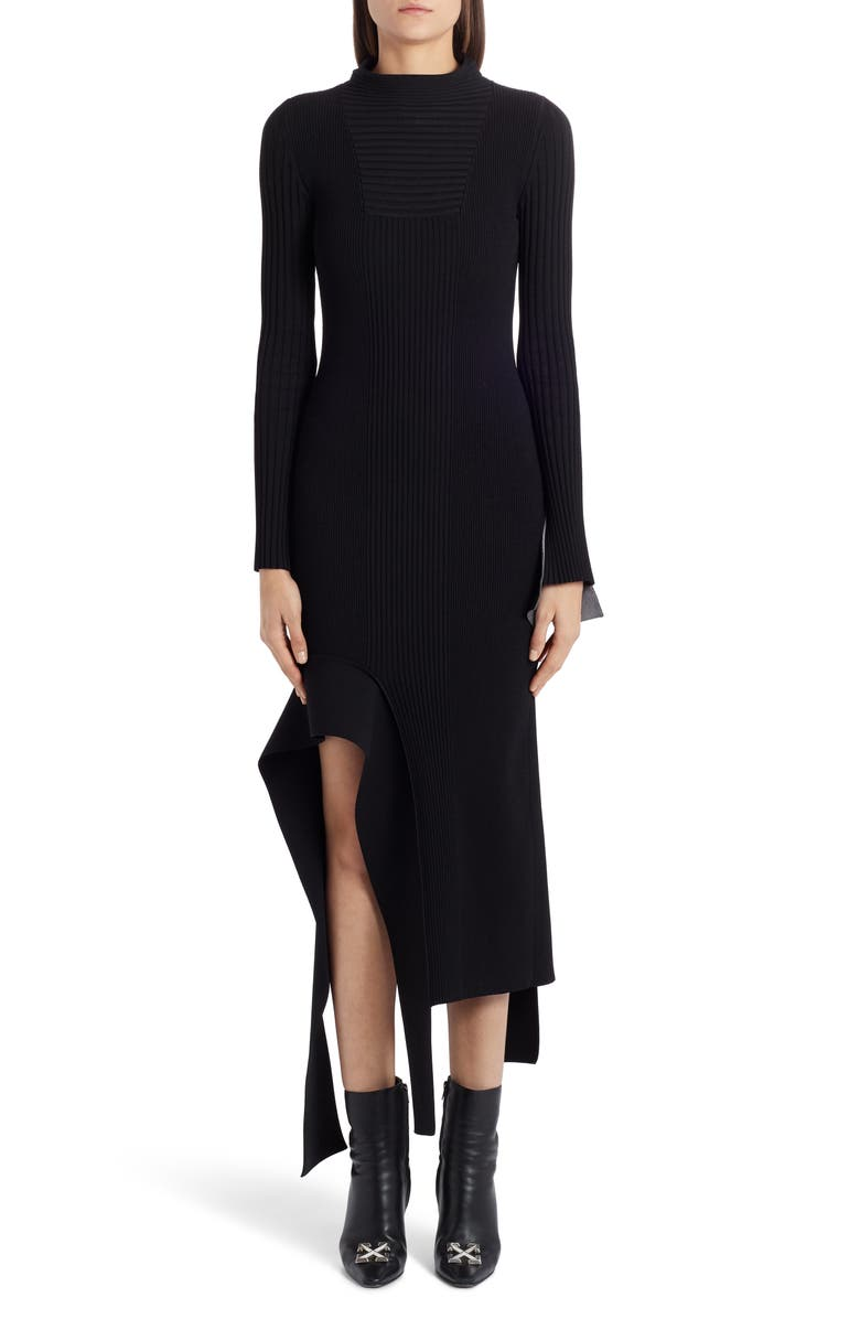 OFF-WHITE Knit Long Sleeve Asymmetrical Midi Dress, Main, color, BLACK NO COLOR