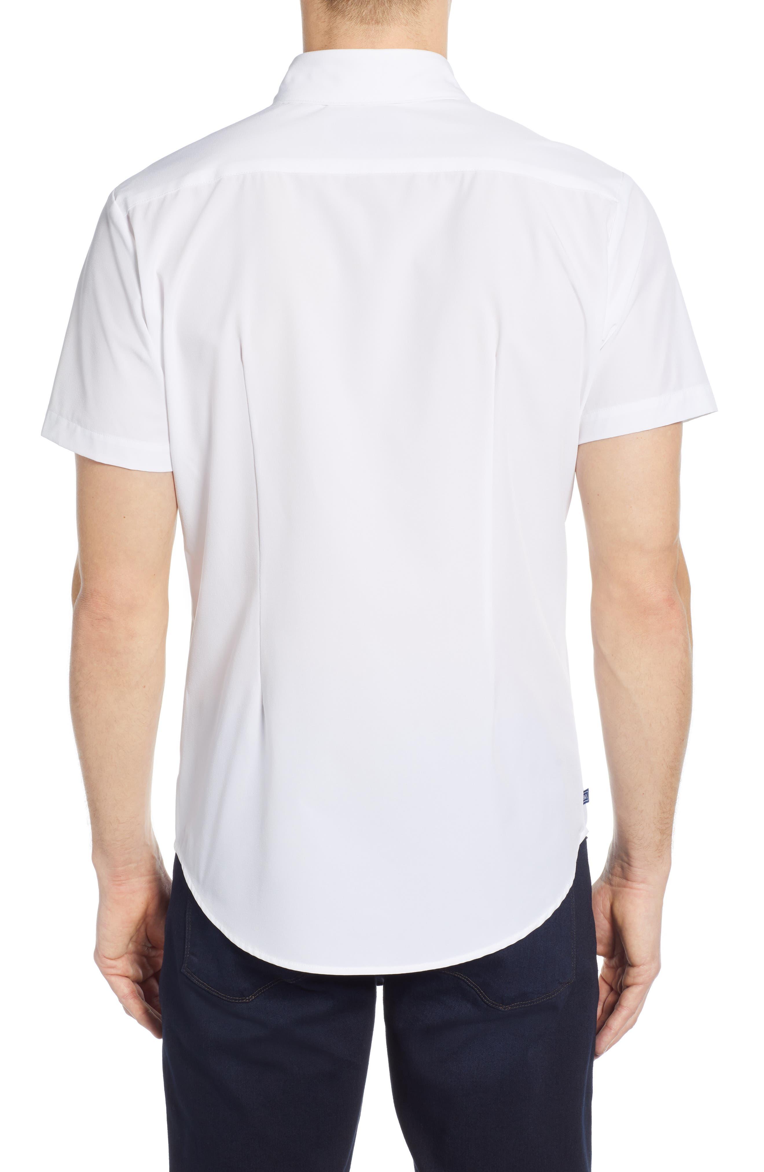 ,                             Weiss Trim Fit Stripe Sport Shirt,                             Alternate thumbnail 3, color,                             WHITE
