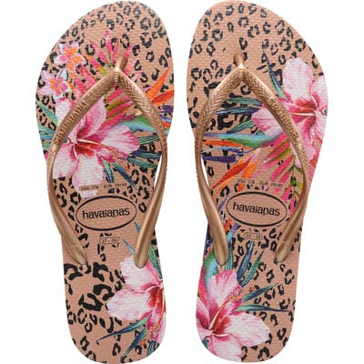 Havaianas Slim Animal Floral Flip Flop, 7/38 BR - Metallic