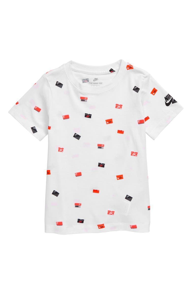 NIKE Allover Shoebox Graphic T-Shirt, Main, color, WHITE
