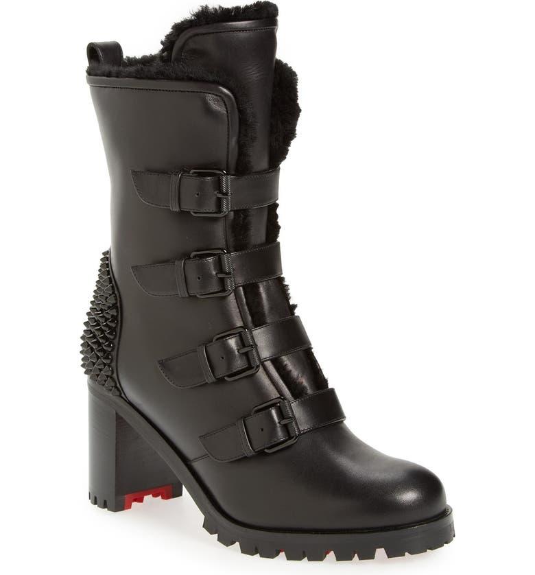 CHRISTIAN LOUBOUTIN 'Glorymount' Studded Buckle Boot, Main, color, 001