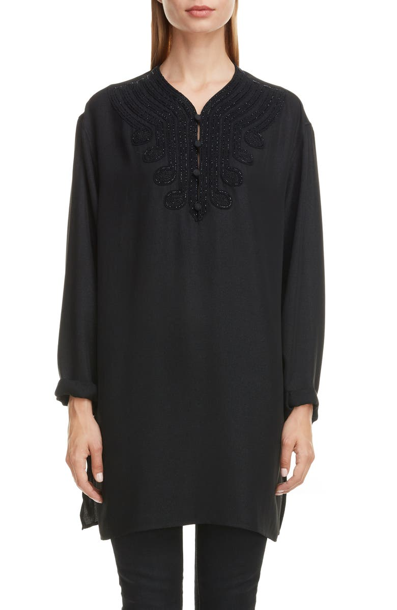 SAINT LAURENT Embroidered Voile Tunic, Main, color, 001