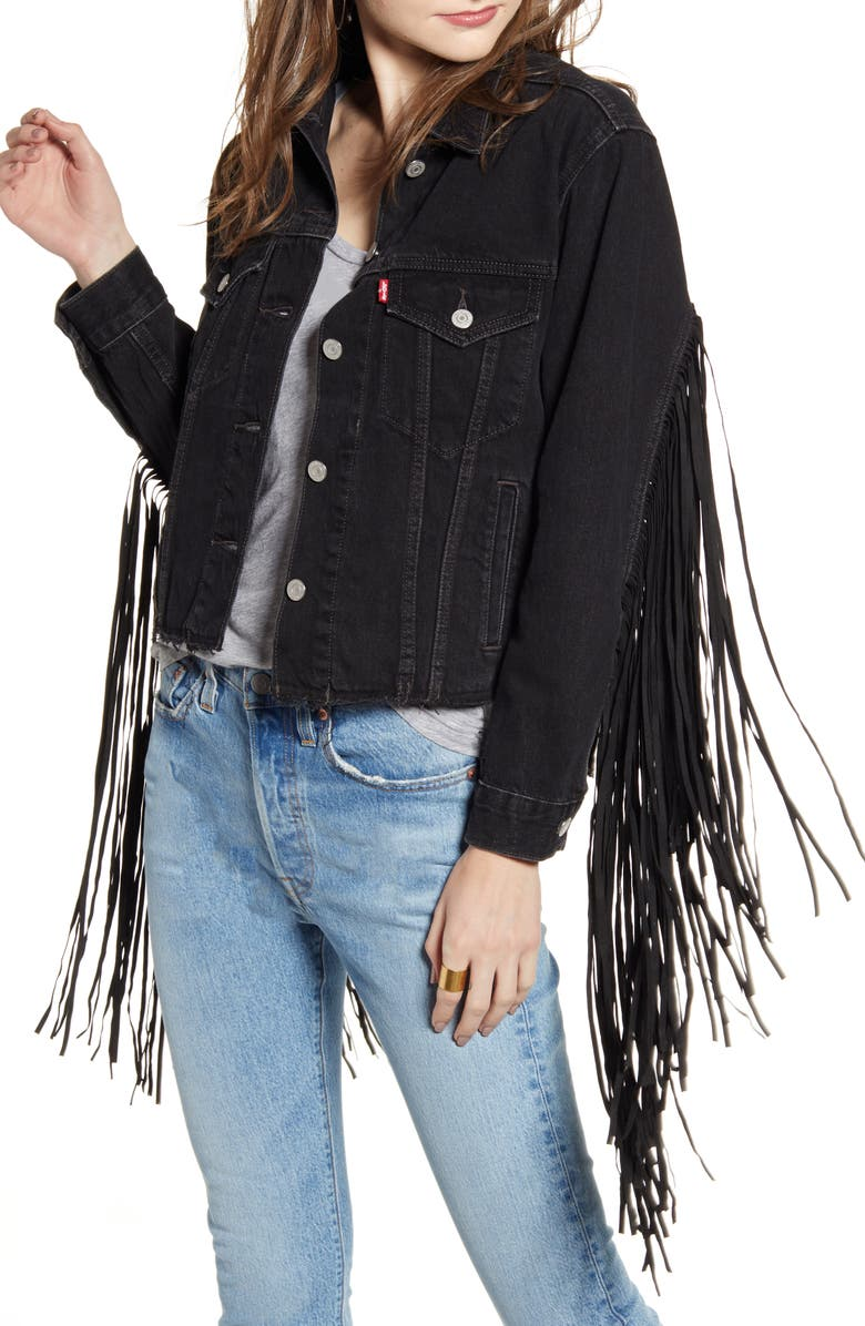 LEVI'S<SUP>®</SUP> Ex-Boyfriend Fringe Trucker Jacket, Main, color, HELLA FRINGE BLACK