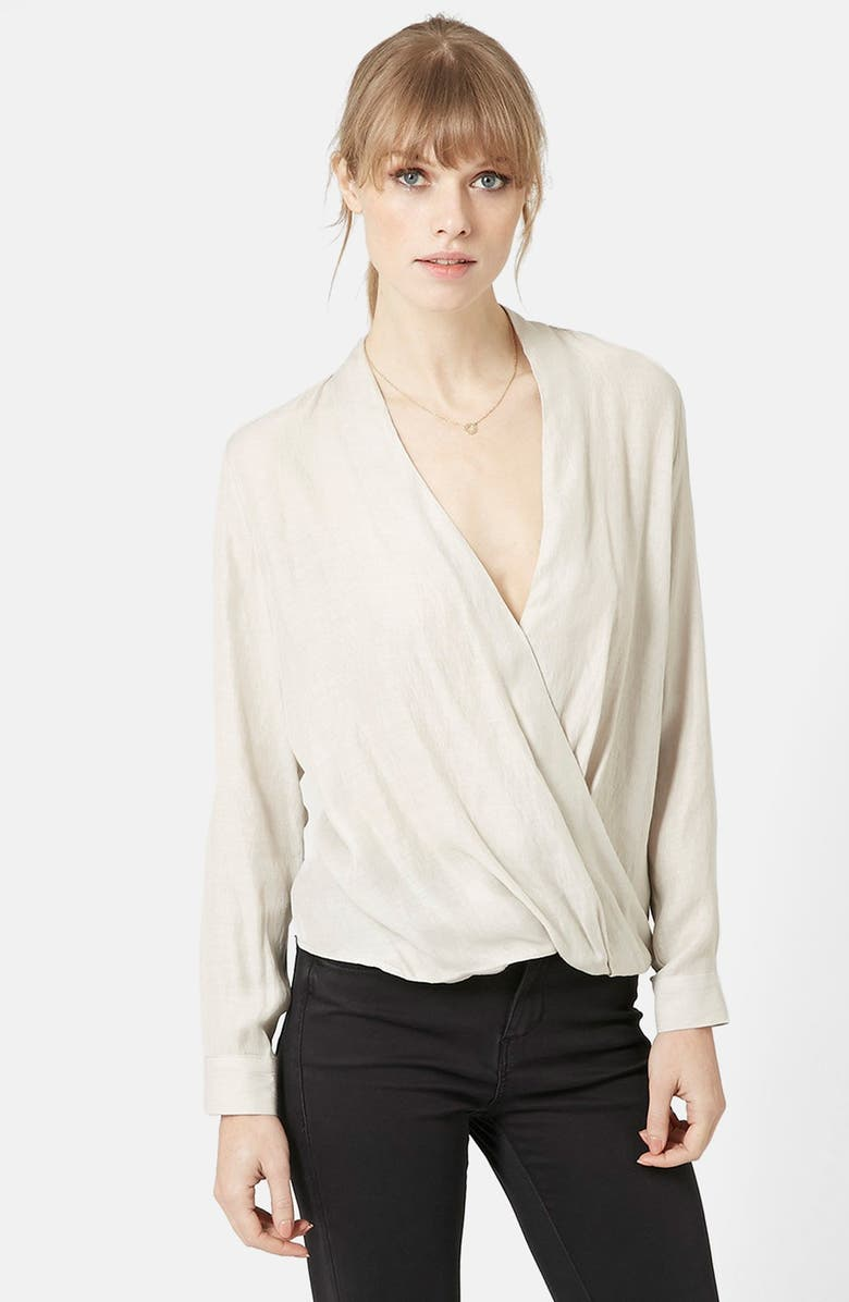 TOPSHOP Long Sleeve Surplice Blouse, Main, color, Grey