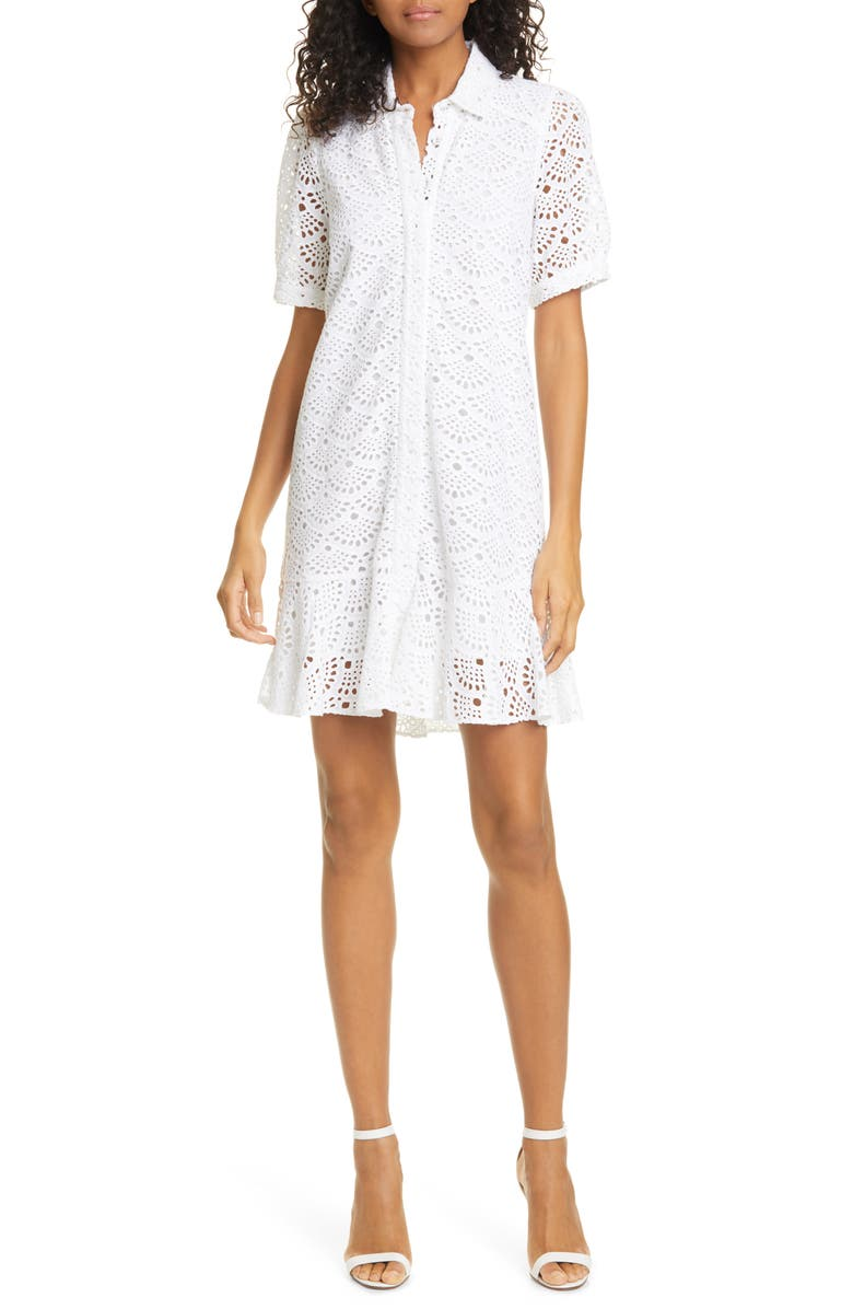 TANYA TAYLOR Aliciana Short Sleeve Cotton Eyelet Shirtdress, Main, color, 100