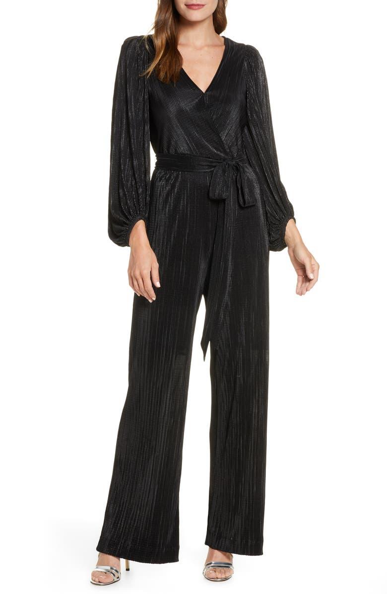 ELIZA J Long Sleeve Open Back Jumpsuit, Main, color, BLACK