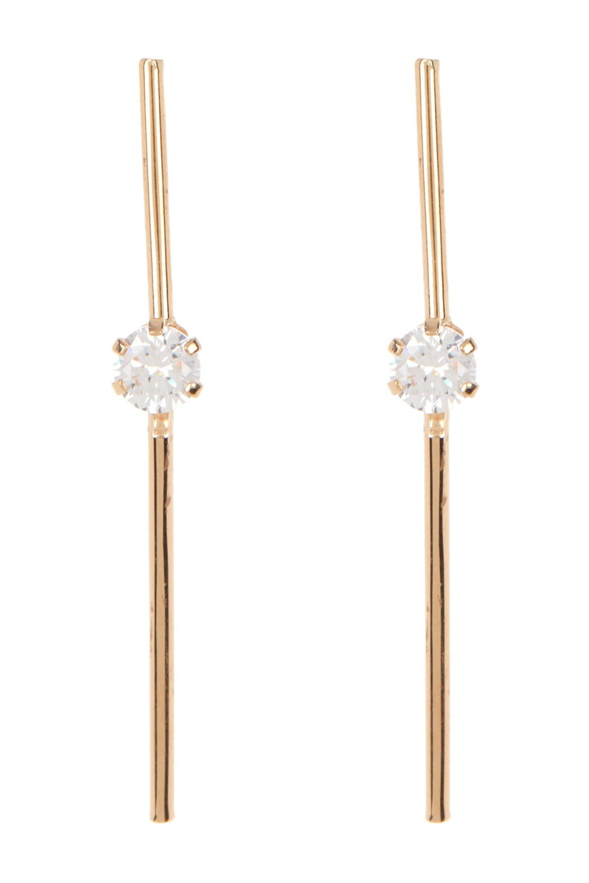 Image of Candela 14K Yellow Gold CZ Stick Dangle Earrings