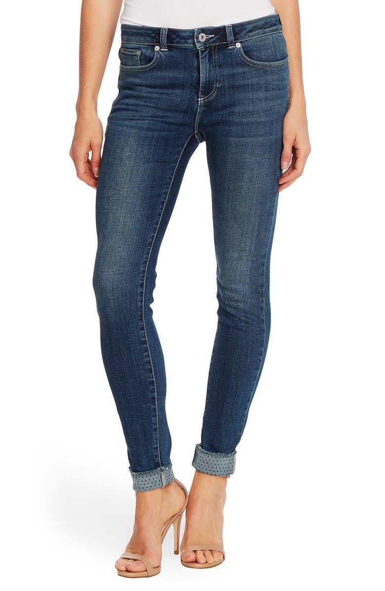 CECE High Waist Polka Dot Cuff Jeans, Main, color, 464