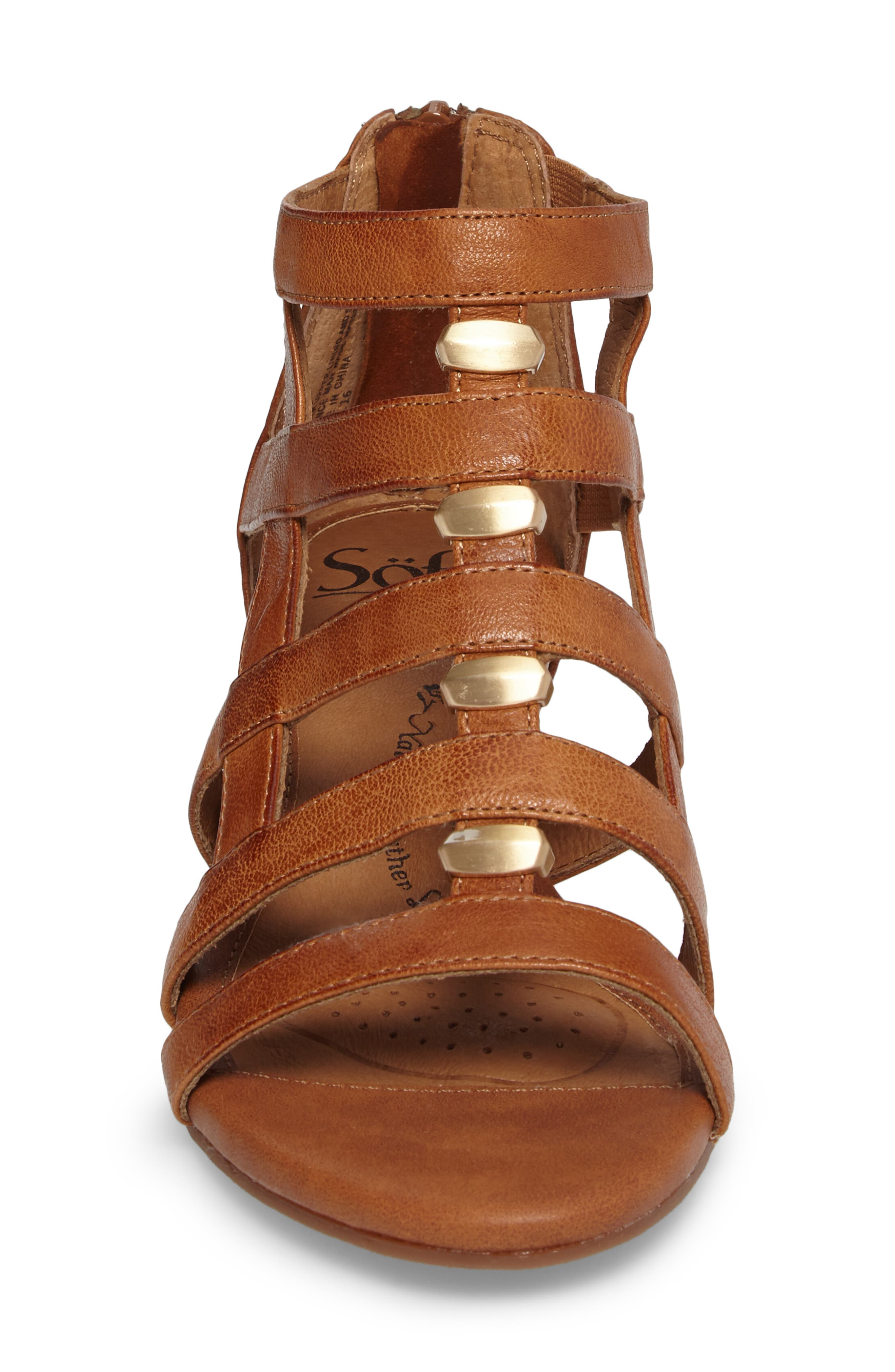 ,                             Rio Gladiator Wedge Sandal,                             Alternate thumbnail 4, color,                             LUGGAGE LEATHER