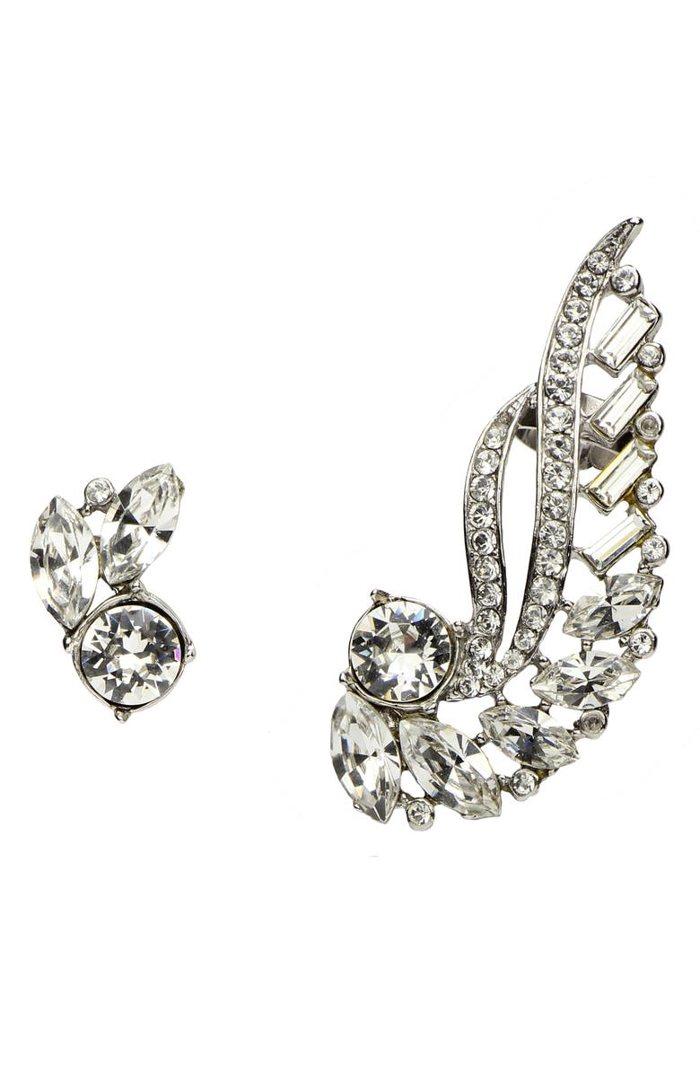 BEN-AMUN Mismatched Crystal Earrings, Main, color, SILVER/ CRYSTAL