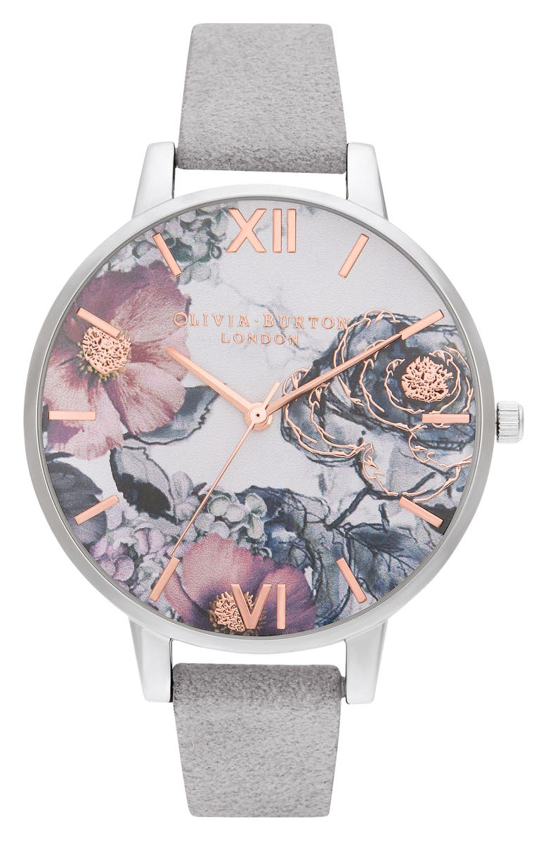 OLIVIA BURTON Floral Leather Strap Watch, 38mm, Main, color, GREY/ WHITE/ FLORAL/ SILVER