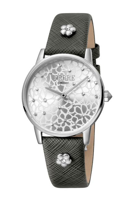 Image of Ferre Milano Women's Floral Dial Textured Leather Strap Watch, 32mm