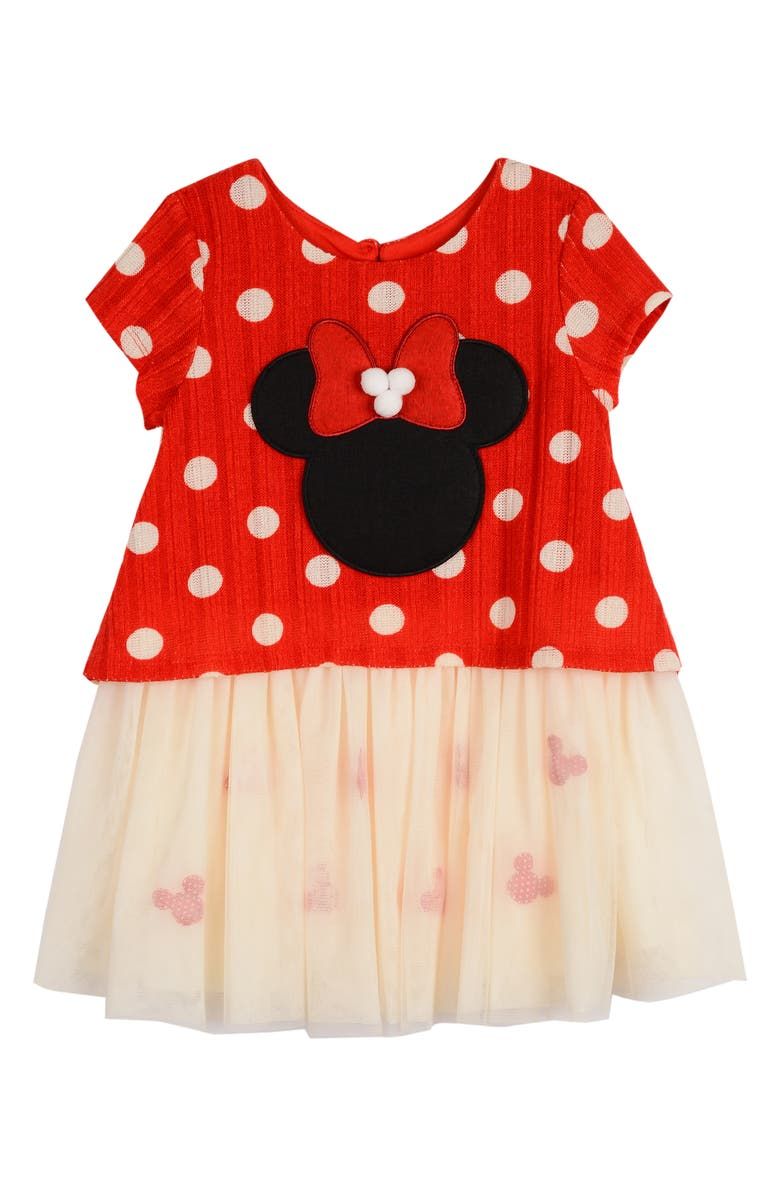 PIPPA & JULIE x Disney Minnie Popover Top Dress, Main, color, RED/ WHITE