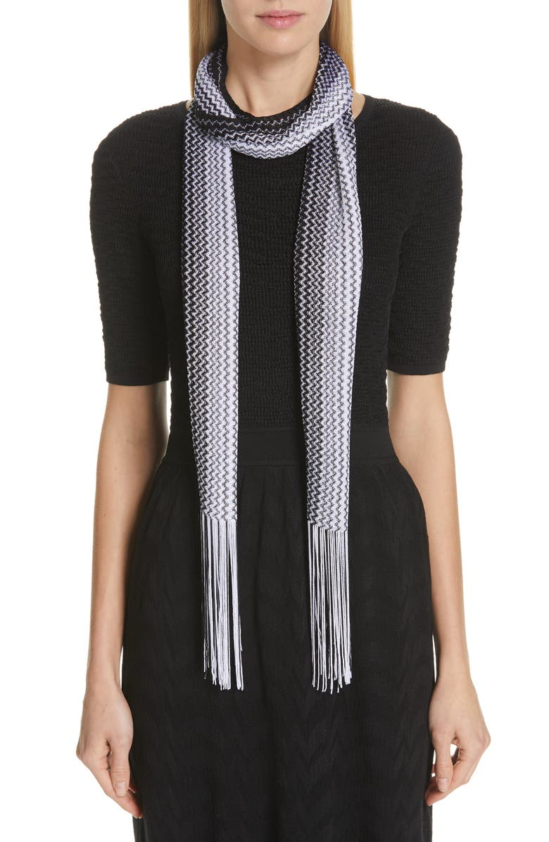 MISSONI Zigzag Fringed Skinny Scarf, Main, color, BLACK