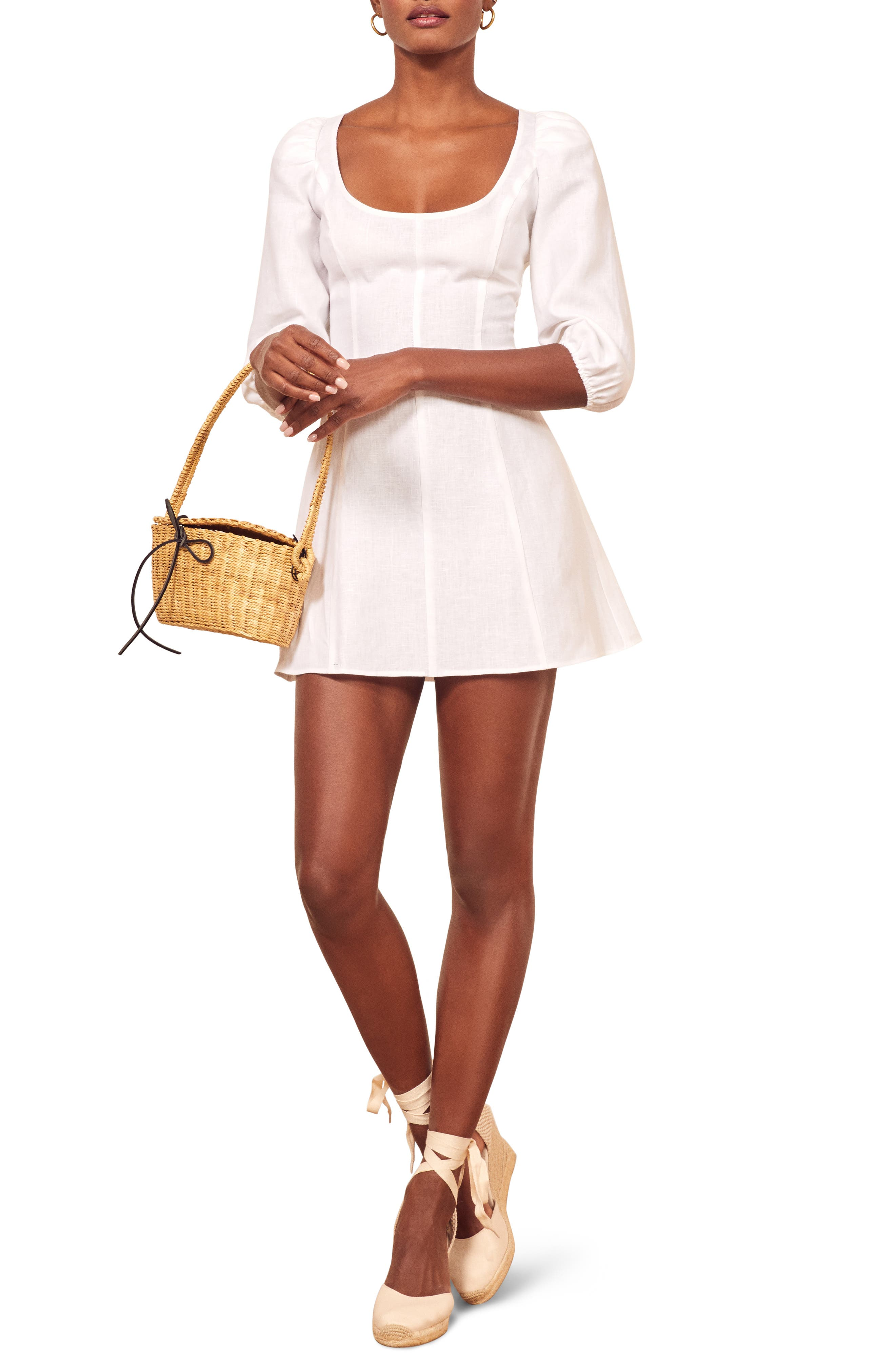 Reformation Maxine Linen Minidress, White