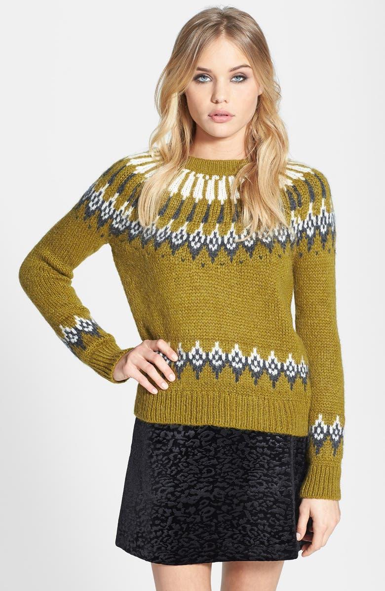 TOPSHOP Peacock Fair Isle Knit Sweater, Main, color, 300