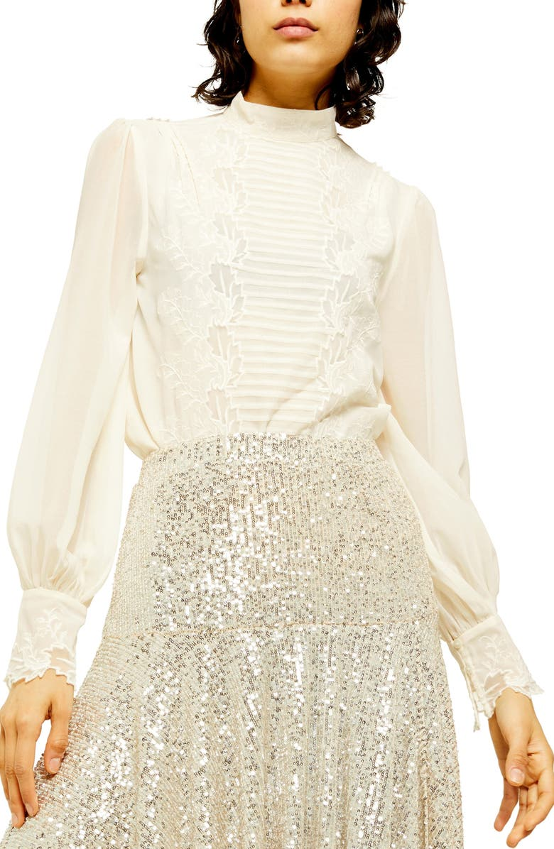 TOPSHOP Sheer Embroidered Cutwork Blouse, Main, color, IVORY