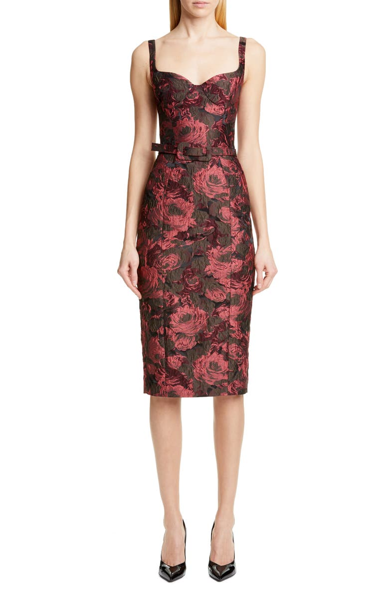 MICHAEL KORS COLLECTION Michael Kors Belted Stretch Jacquard Sheath Dress, Main, color, 694