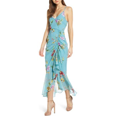 Astr The Label Floral Ruched Front Maxi Dress, Blue/green