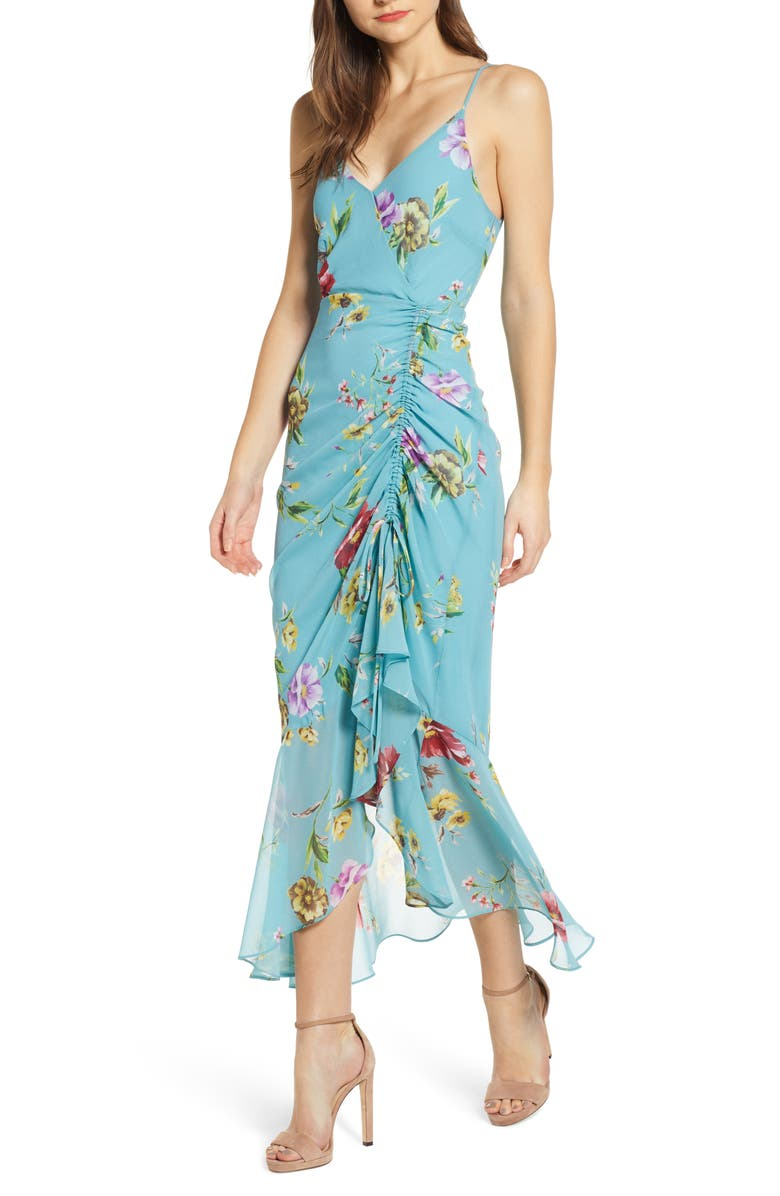 ASTR THE LABEL Floral Ruched Front Maxi Dress, Main, color, TEAL FLORAL
