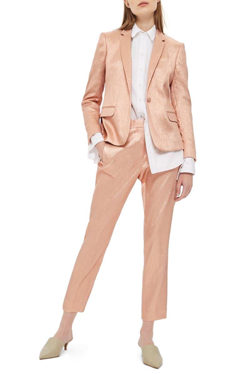 TOPSHOP Metallic Glitter Suit Jacket, Main, color, 950