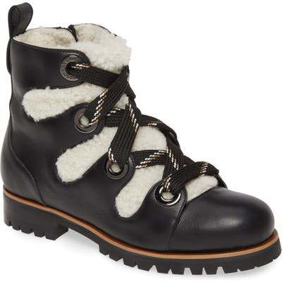 Jimmy Choo Bei Hiking Boot With Genuine Shearling Lining, Black