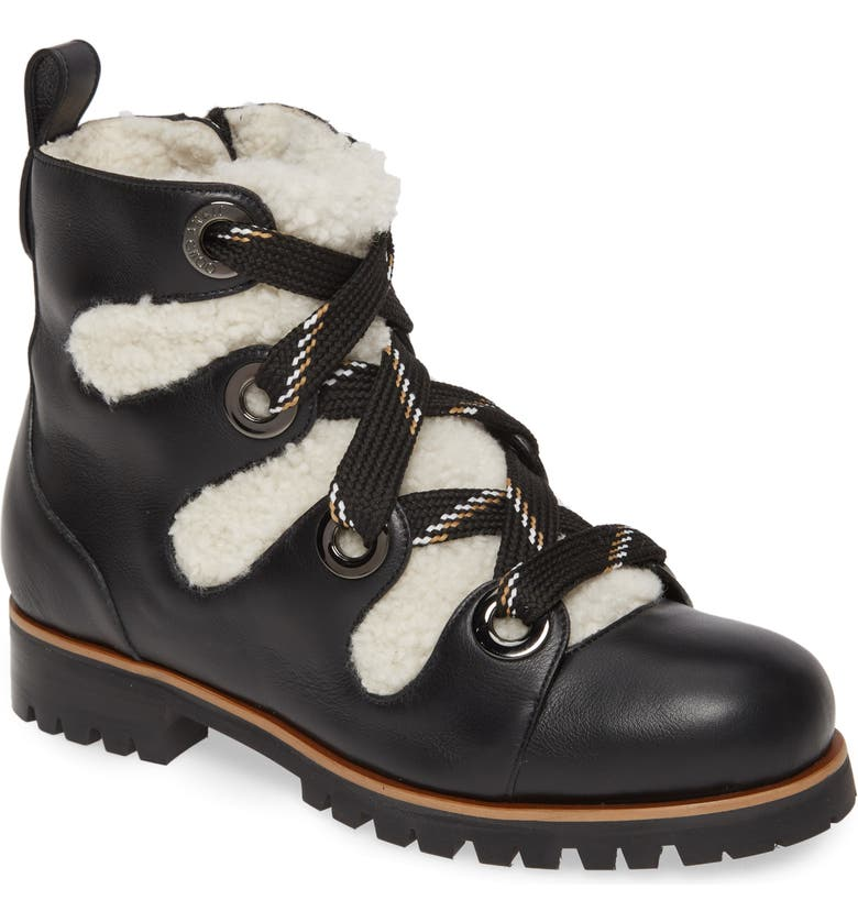 JIMMY CHOO Bei Hiking Boot with Genuine Shearling Lining, Main, color, 001