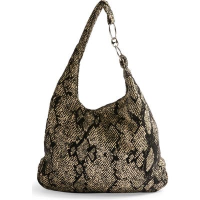Topshop Zambia Snake Slouch Tote Bag - Black