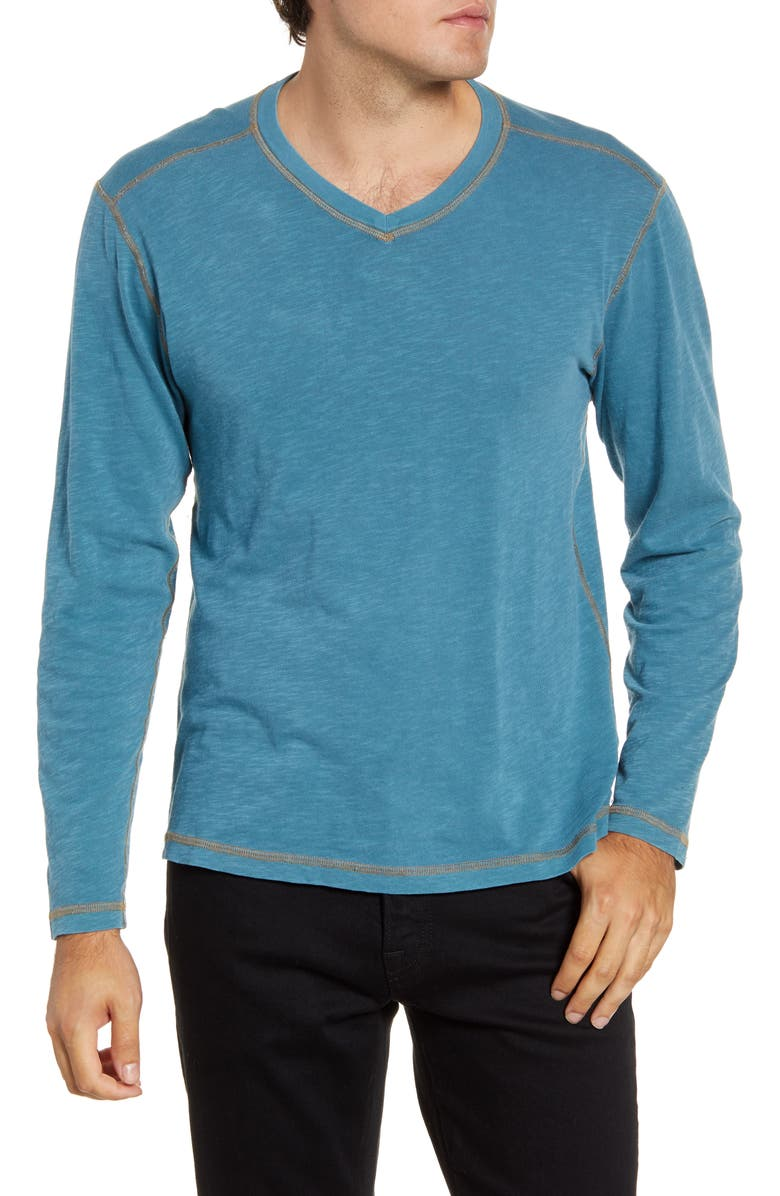 AGAVE Kick Long Sleeve V-Neck Slub T-Shirt, Main, color, 460