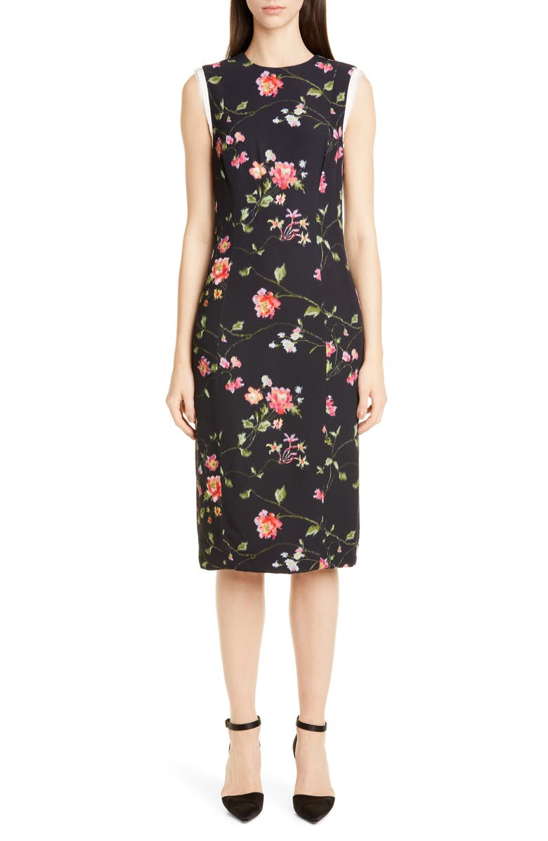 JASON WU COLLECTION Vine Floral Stretch Crepe Sheath Dress, Main, color, BLACK MULTI