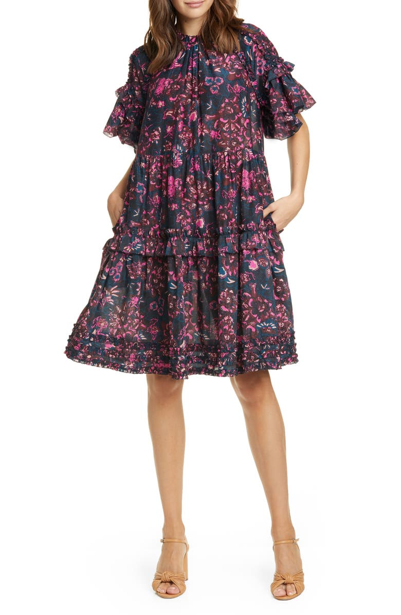 ULLA JOHNSON Fawn Tiered Floral Dress, Main, color, 400