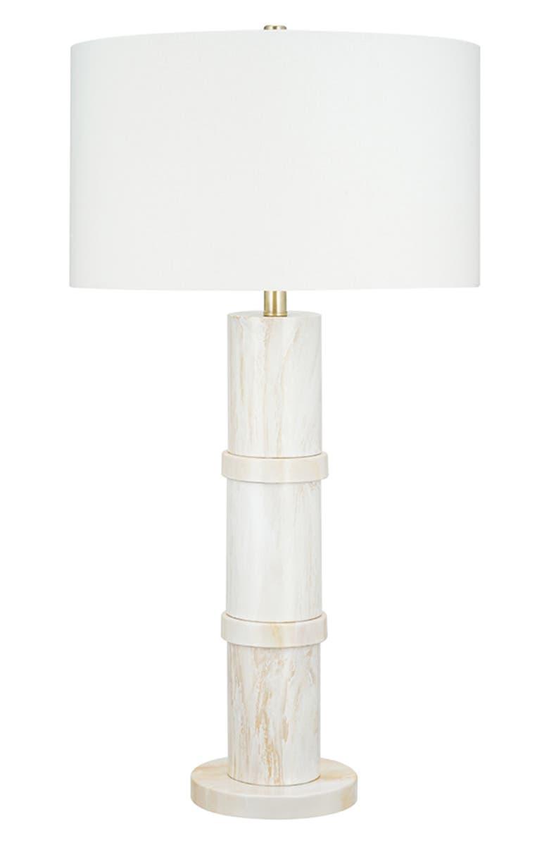 JALEXANDER LIGHTING Marbled Table Lamp, Main, color, WHITE