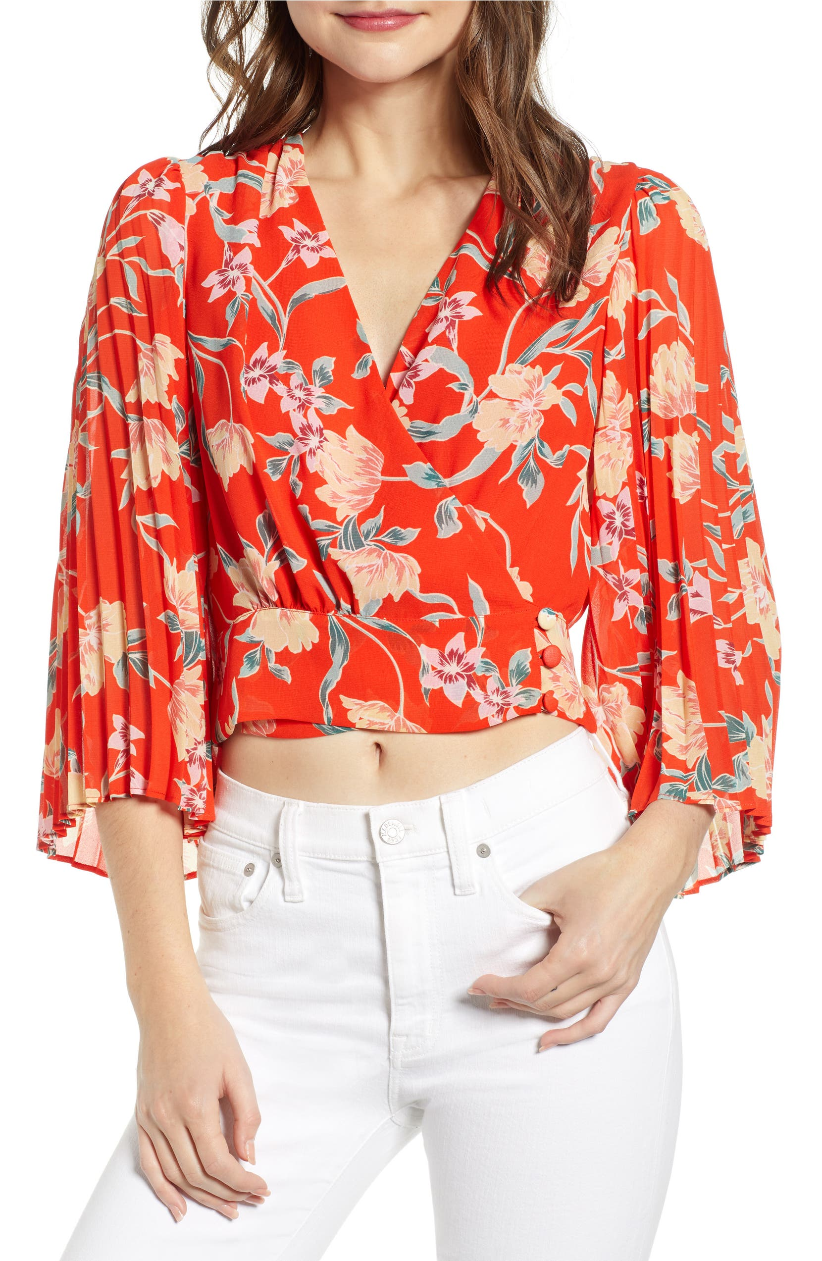 1b0fee20485f9a ASTR the Label Floral Pleated Sleeve Wrap Blouse | Nordstrom