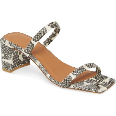 By Far Tanya Snake Embossed Strappy Square Toe Sandal, Brown