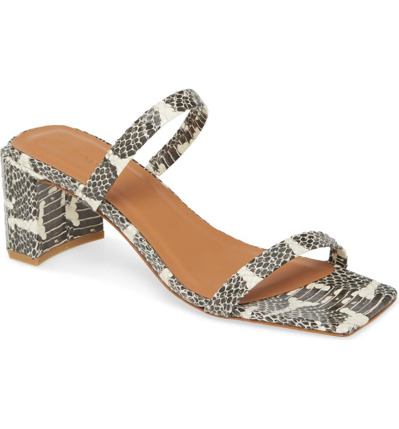 BY FAR Tanya Snake Embossed Strappy Square Toe Sandal, Main, color, 200