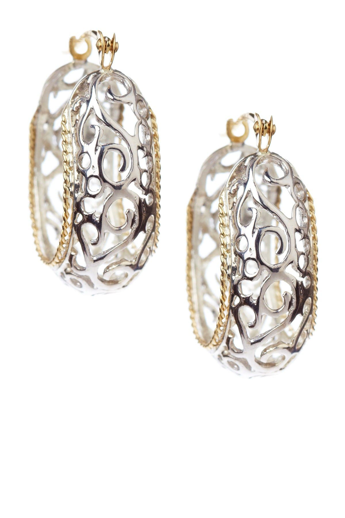Image of Candela Sterling Silver 14K Yellow Gold Cutout Oval Hoop Earrings