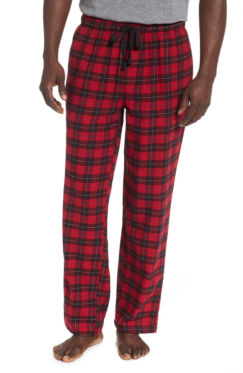 NORDSTROM MEN'S SHOP Flannel Pajama Pants, Main, color, RED BLACK WILLIAM TARTAN
