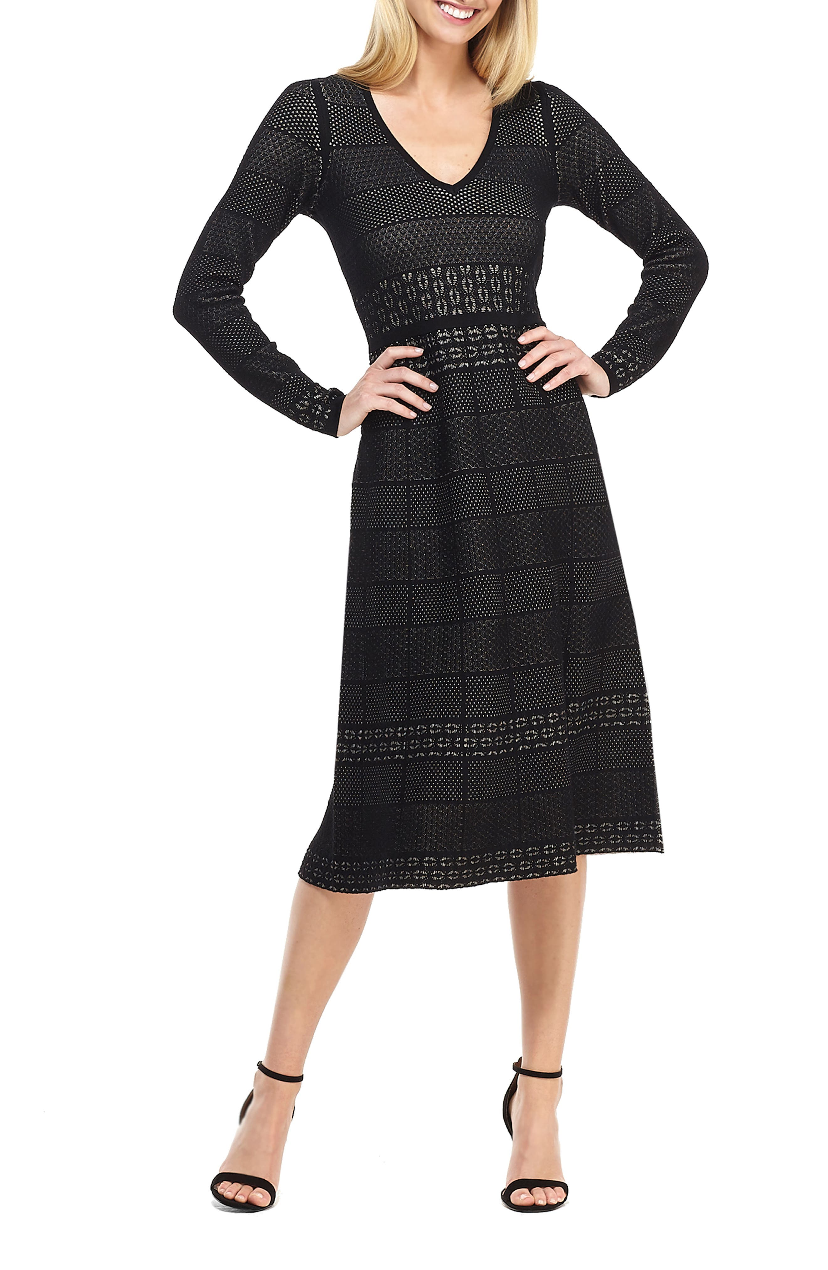1930s Dresses | 30s Art Deco Dress Womens Gal Meets Glam Collection Heidi Mixed Stitch Long Sleeve Sweater Dress $158.00 AT vintagedancer.com