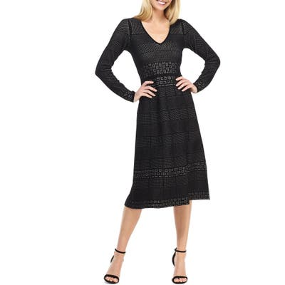 Gal Meets Glam Collection Heidi Mixed Stitch Long Sleeve Sweater Dress, Black