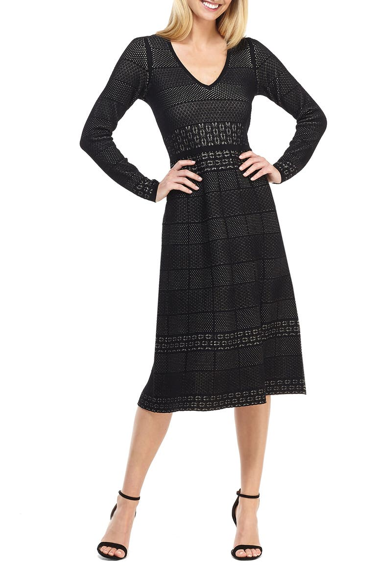 GAL MEETS GLAM COLLECTION Heidi Mixed Stitch Long Sleeve Sweater Dress, Main, color, BLACK