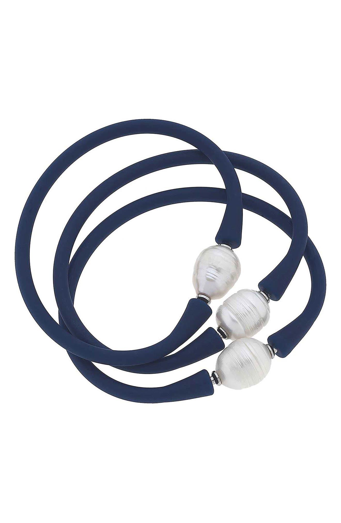 Set Of 3 Bali Freshwater Pearl Silicone Bracelets