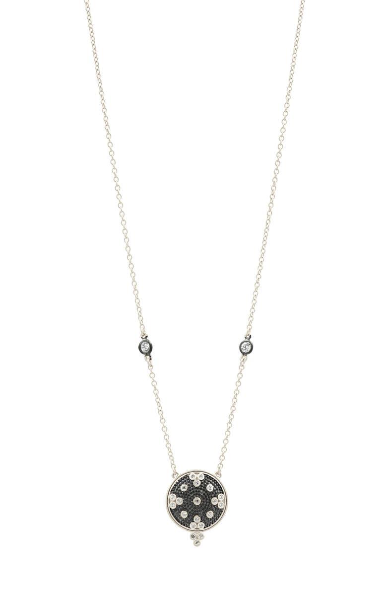 FREIDA ROTHMAN Signature Clover Disc Pendant Necklace, Main, color, SILVER/ BLACK